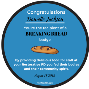 Breaking Bread round badge Danielle Jackson