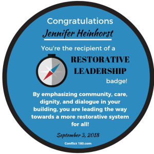 Jennifer Heinhorst restorative leadership badge