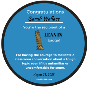 Lean In Round Badge Sarah Wallace