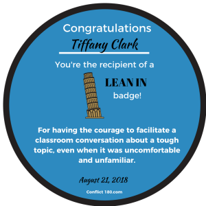 Lean In Round Badge Tiffany Clark