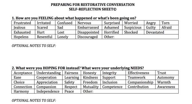 Restorative Self Reflection sheet picture